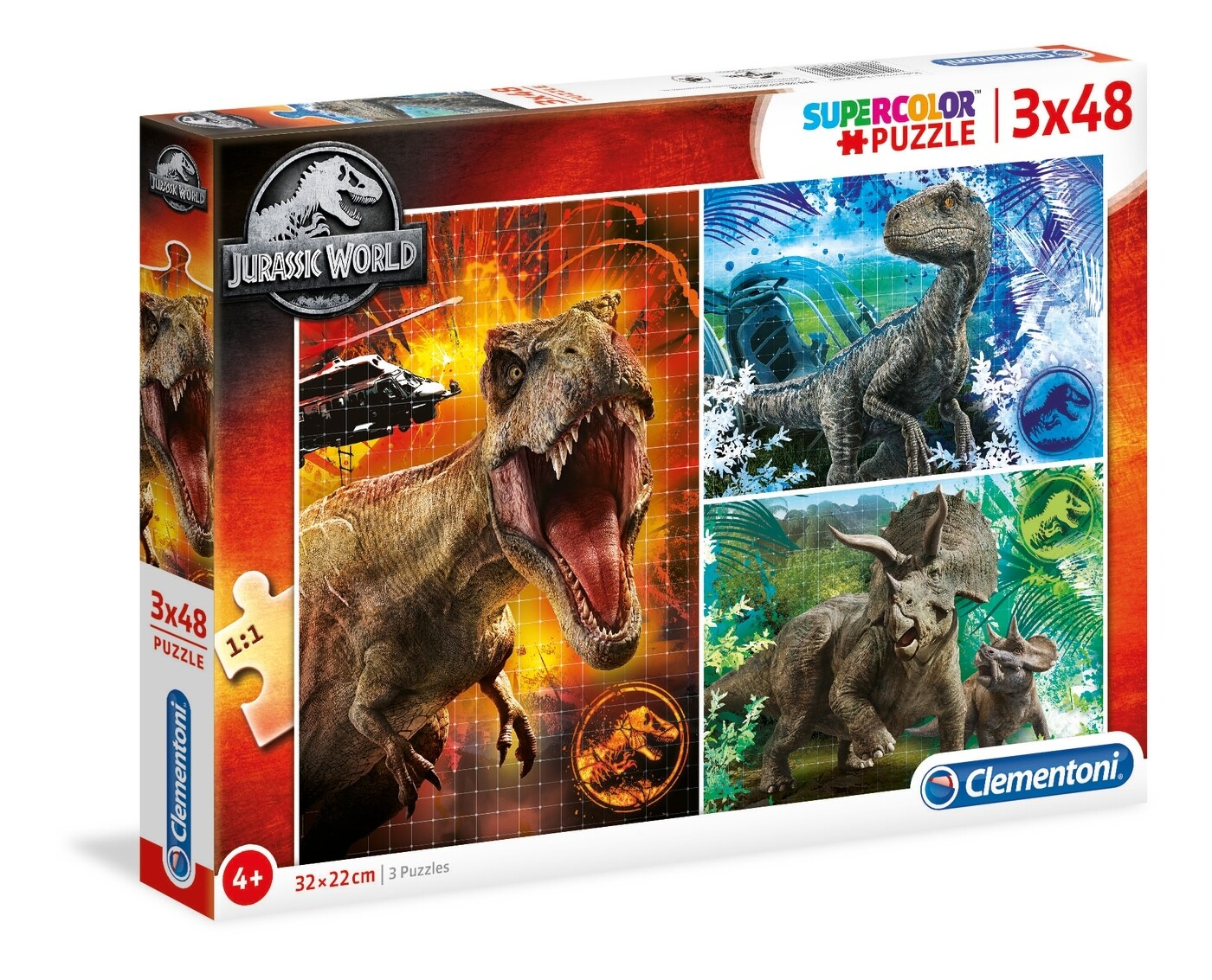 PUZZLE Jurassic World 3x48pcs - CLEMENTONI