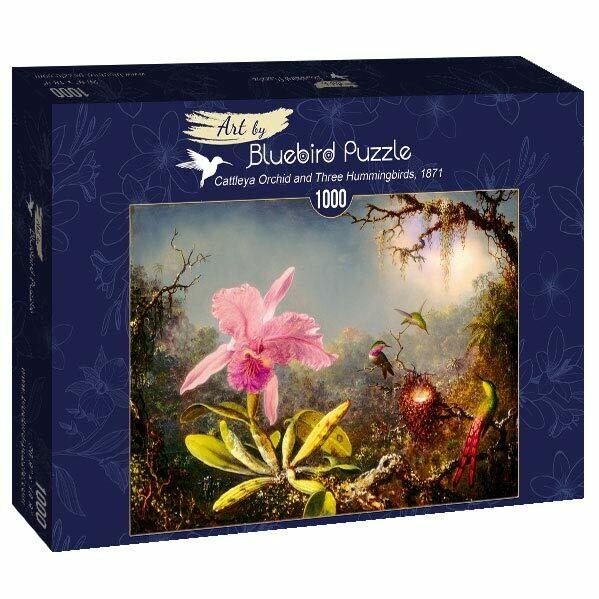 PUZZLE 1000 pcs - Orquidea e 3 Colibris  - BLUEBIRD