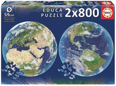 PUZZLE 2 x 800 pcs - Planeta Terra - REDONDO - EDUCA