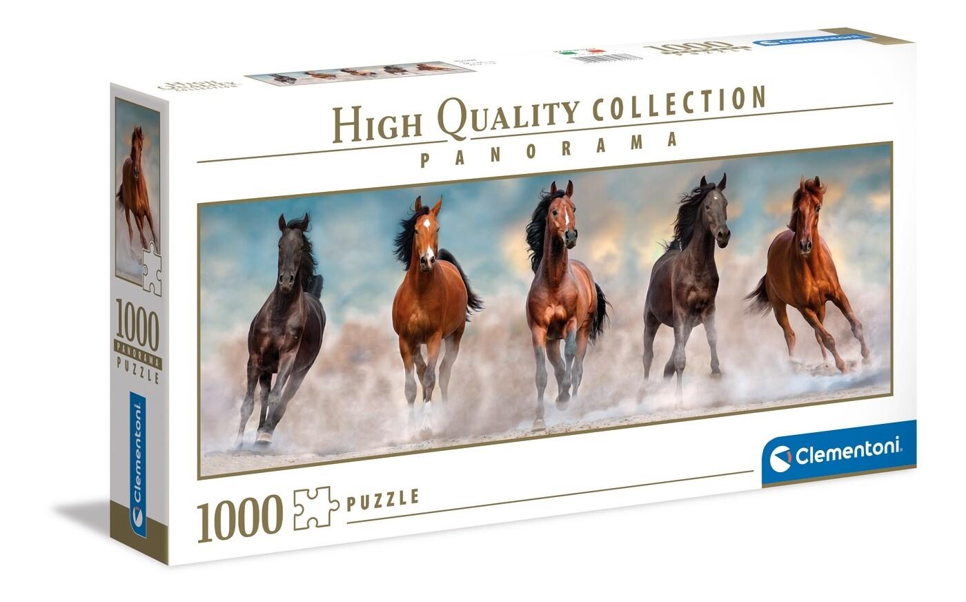 PUZZLE 1000 HQ Panorama - Cavalos - CLEMENTONI