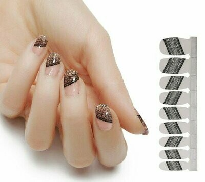 Nails French Muster French Nagel Schwarz 15