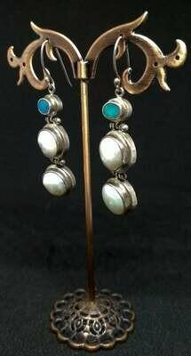Pendientes ópalo, perla barroca y plata de ley
