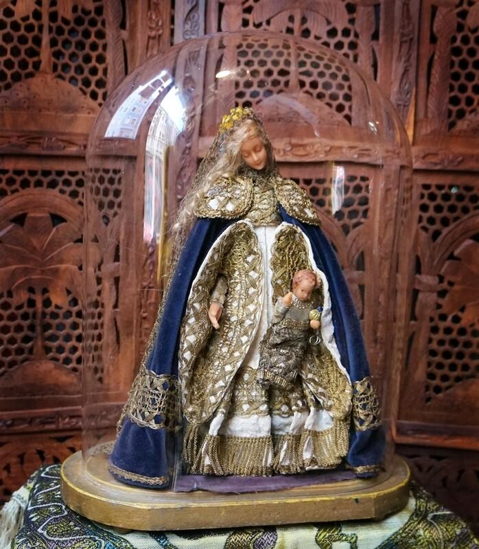 Virgen con niño de cera en fanal. S. XIX