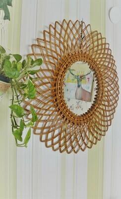 Espejo Sol Vintage de Bambú