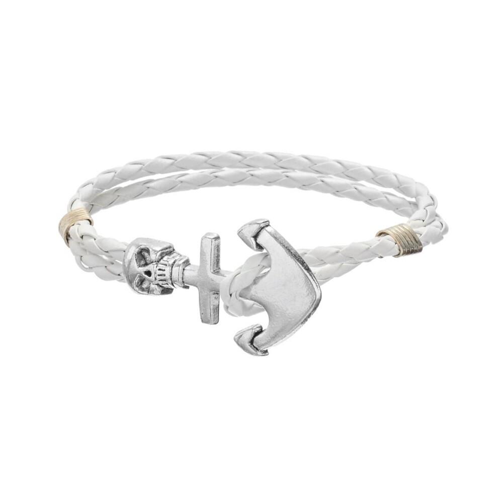 Bracelet Crâne et Ancre en Cuir Tressé Blanc et Acier Inoxydable