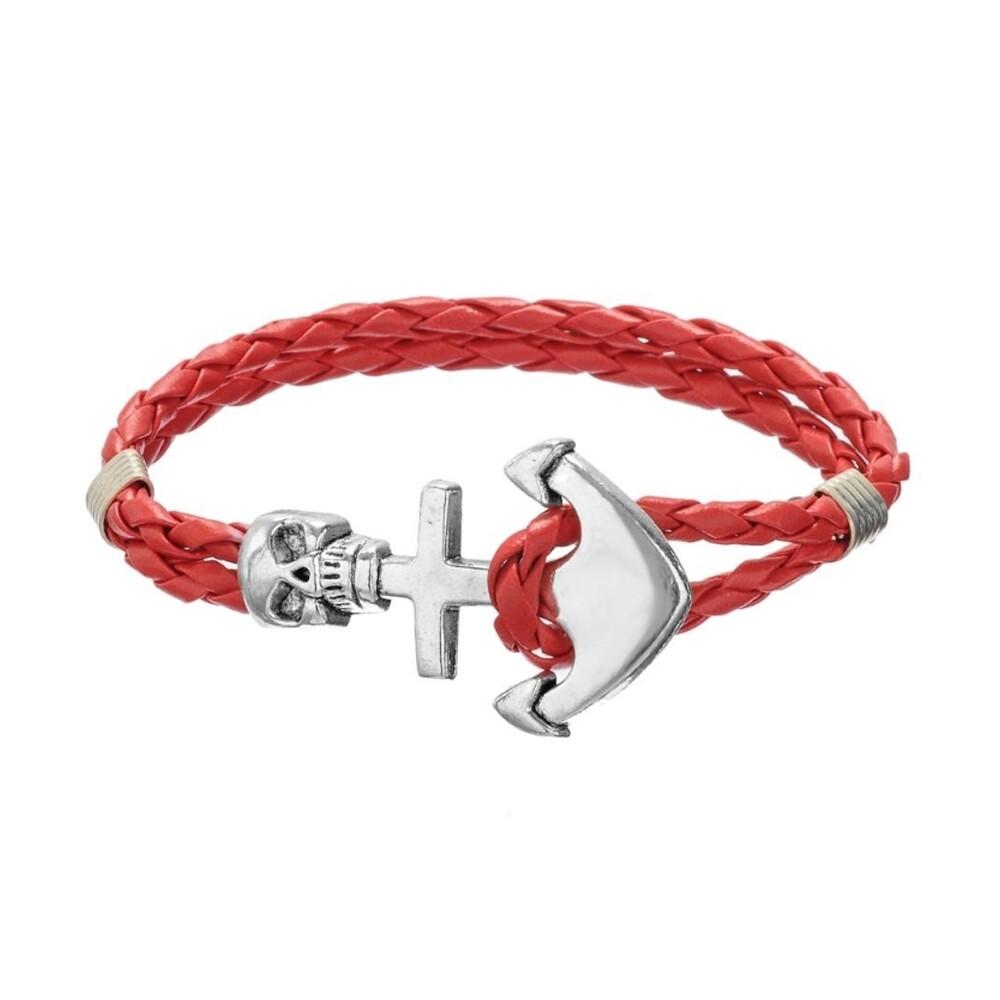 Bracelet Crâne et Ancre en Cuir Tressé Rouge et Acier Inoxydable