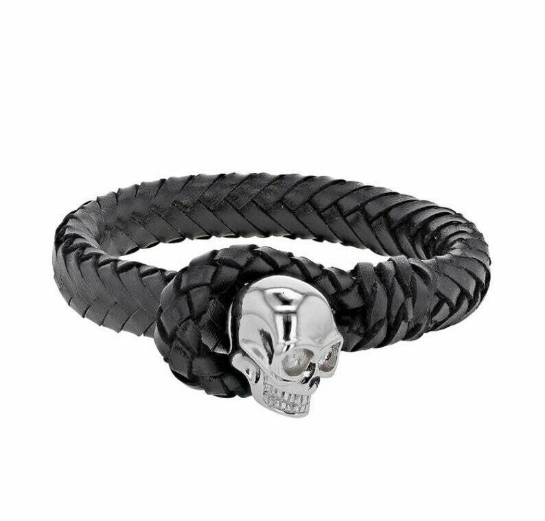 Bracelet Tête de Mort Cuir Tressé