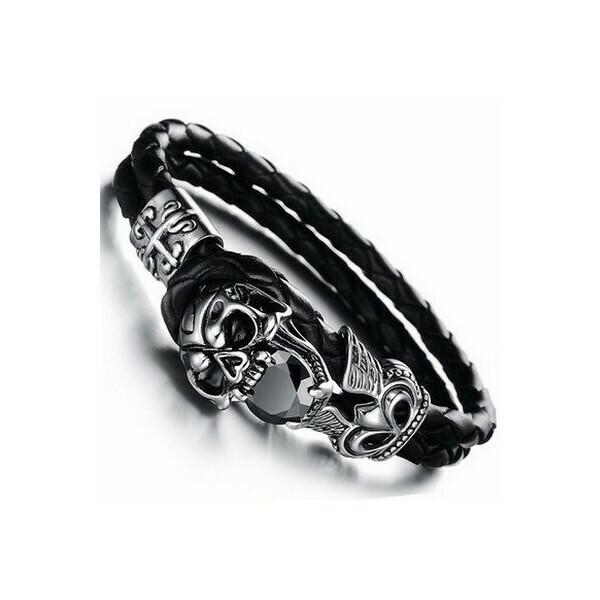 Bracelet Silver Skull en Cuir et Acier Inoxydable