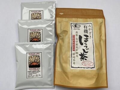 MAMEZO オーガニックコーヒードリップバッグ 3パック+有機ほうじ茶セット