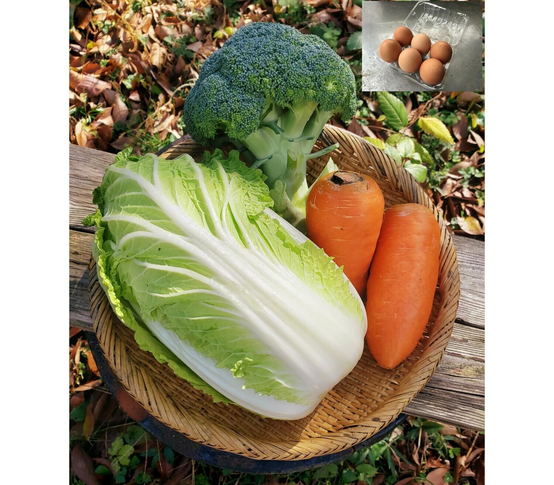 チリンチリン三鷹農家定期便 野菜詰め合わせ+平飼い卵(水・金・土限定)