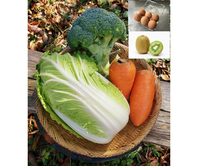 チリンチリン三鷹農家定期便 野菜詰め合わせ+平飼い卵+季節の果物(水・金・土限定)