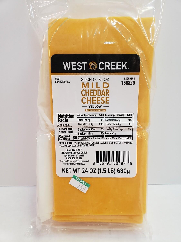 Cheese Mild Cheddar Yellow Sliced 24oz