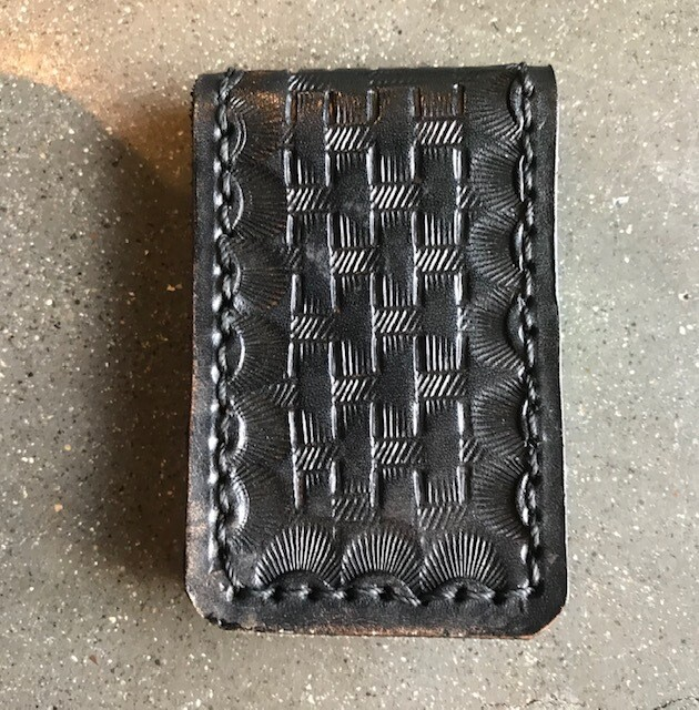 Money Clip, Hand-tooled Leather