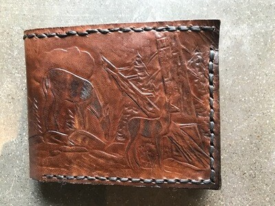 Hand Crafted Leather Wallet,  Deer Design