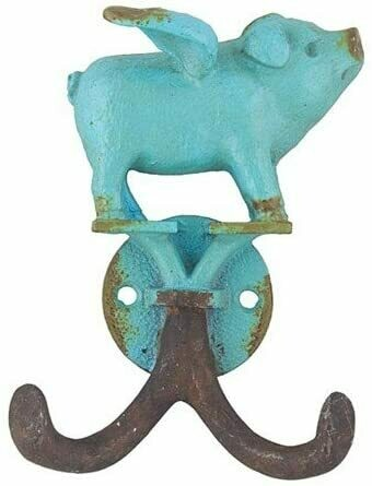 Flying Piglet Hook, Antique Turquoise