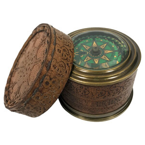 Vintage Brass Compass In Tooled Leather