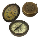 Brass Compass and Clock, Antiqued Vintage Reproduction