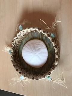 Hand Woven Fir Needle Basket With Sand Dollar and Aquamarine Bead embellishment