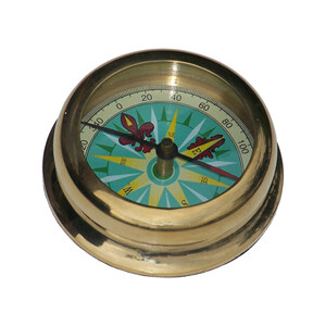 Solid Polished Brass Compass Paperweight