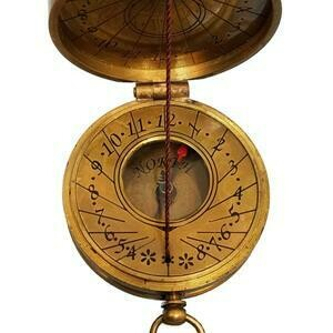 Antique Brass Pocket Sundial & Compass