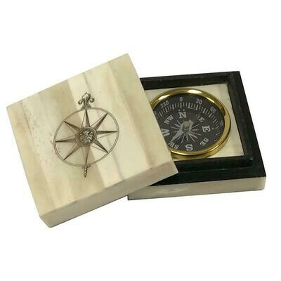 Compass Rose Scrimshaw  Bone Box with  inlaid Brass Compass