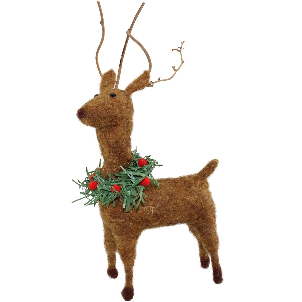 Hand Crafted Felted Deer Ornament