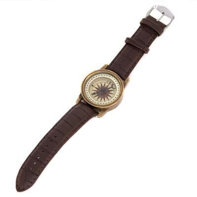 BRASS AND LEATHER WRIST COMPASS