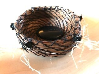 Fir Needle Basket, Hand Woven With Obsidian Center and Paua Shell Accents