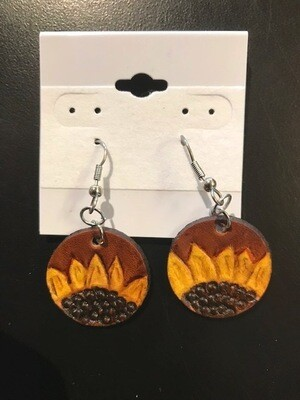 Sunflower earrings, hand tooled leather