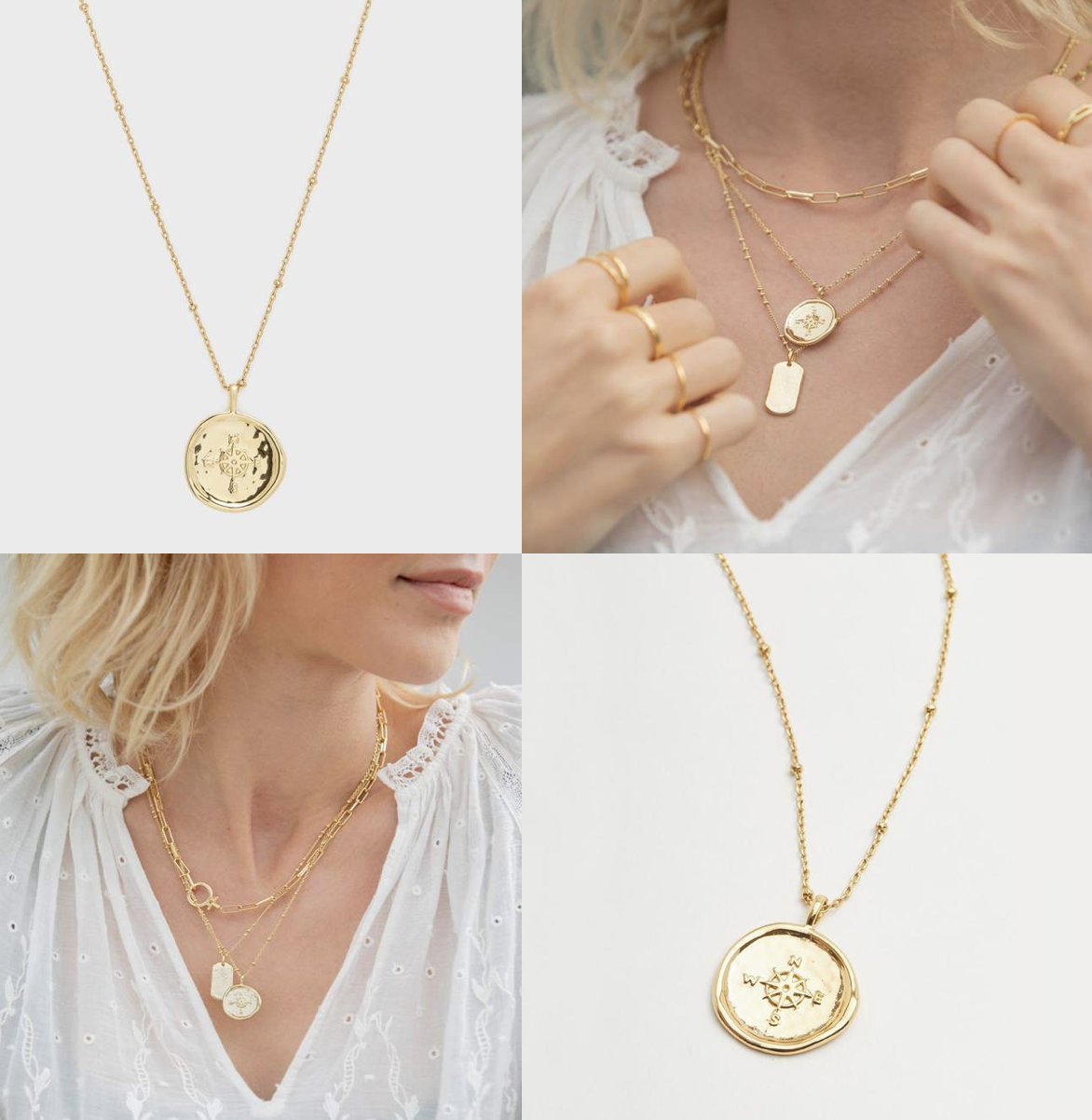 Compass Coin Necklace