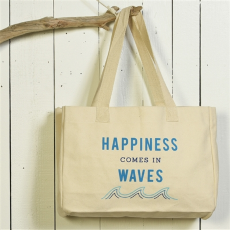 Canvas Tote- Happiness Comes in Waves