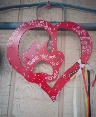 Metal Mosiac heart dog paws