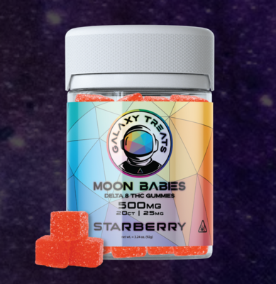 Galaxy Treats Delta 8 Gummies - Starberry (50 or 500mg total - 25mg each)