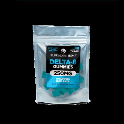 Blue Moon Hemp Delta 8 THC Gummies - Blue Razz (250mg total - 25mg each)