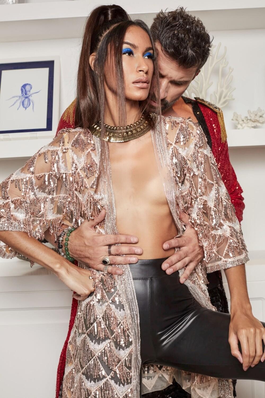 Gold Sequin Fringe Kimono by Festivo Kimonos