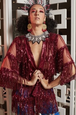 The Fringed Sequin Kimono