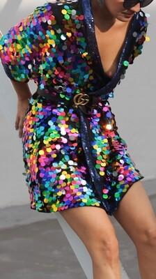 Multicolor Sequin Kimono