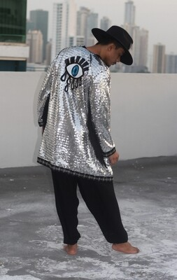 Third Eye Silver Sequin Kimono