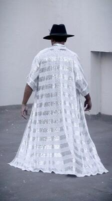 White and Silver Striped Sequin Kimono