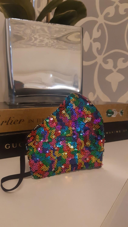Rainbow Sequin Face Mask