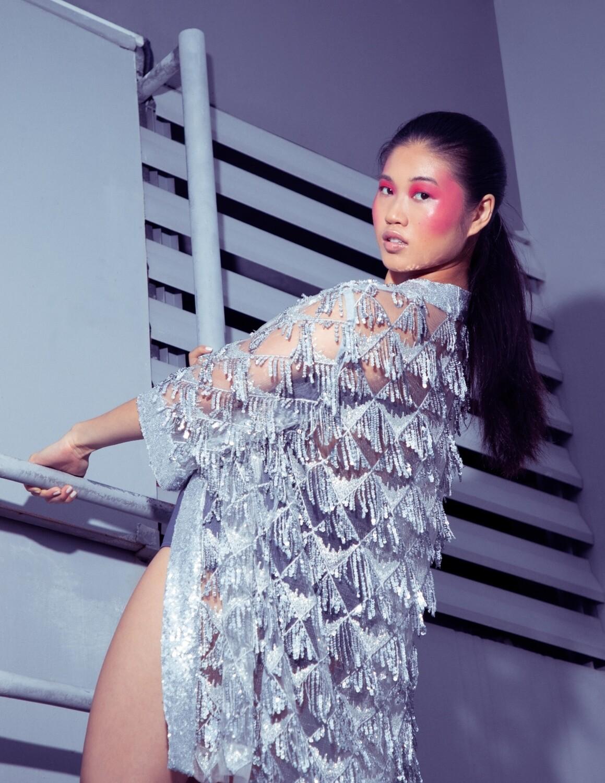 "The ""Silver Sequined Fringe Kimono"""