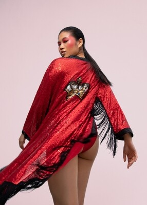 The Crown Kimono - Red Sequin Kimono