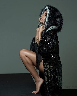 Sequin and Fur Hooded Kimono
