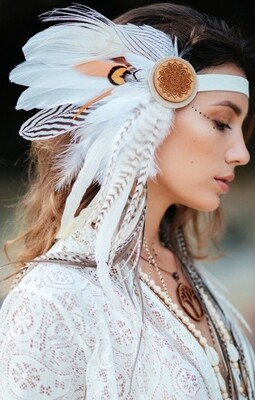White Feathered Headpiece - One side