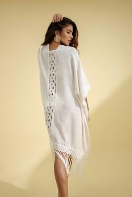 Back Neckline Linen Kimono