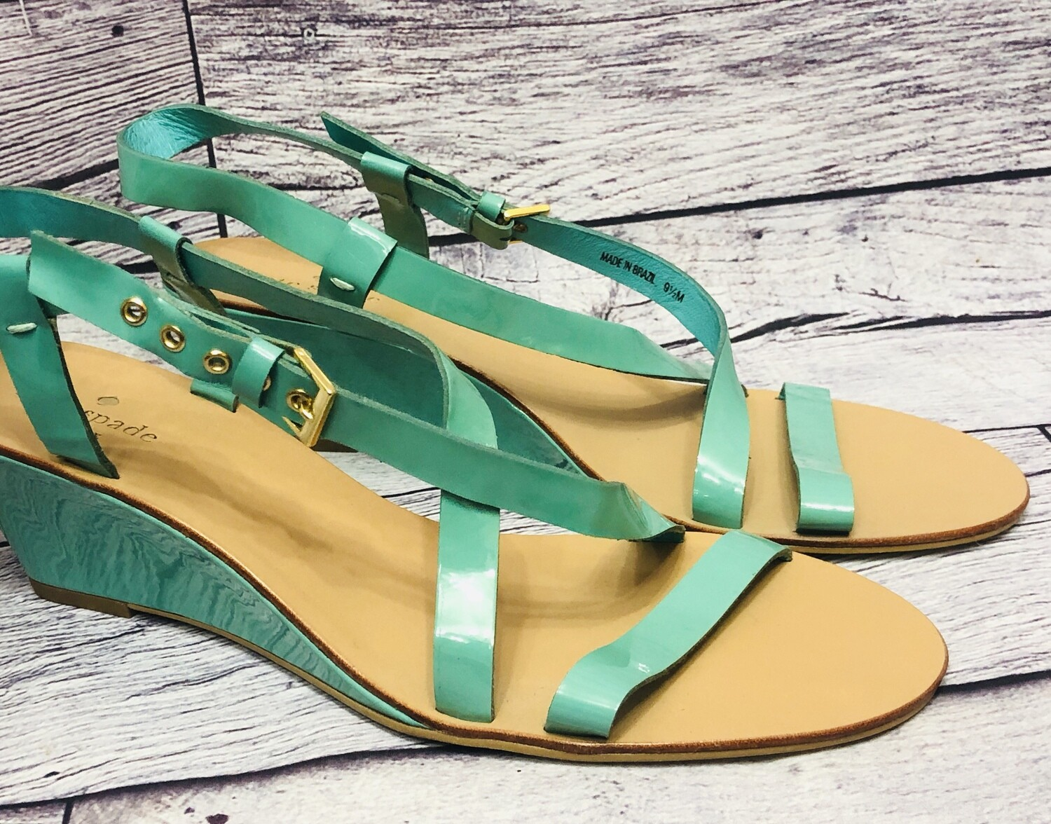 New KATE SPADE Aqua Patent Leather Strap Wedge Sandals size 9 1/2