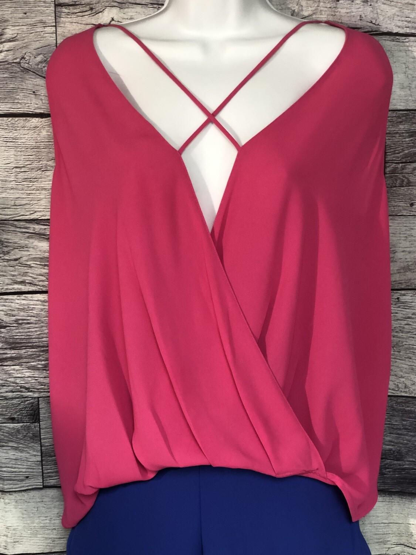 OXFORD SUNDAY Bright Pink Hi-Low Blouse Medium