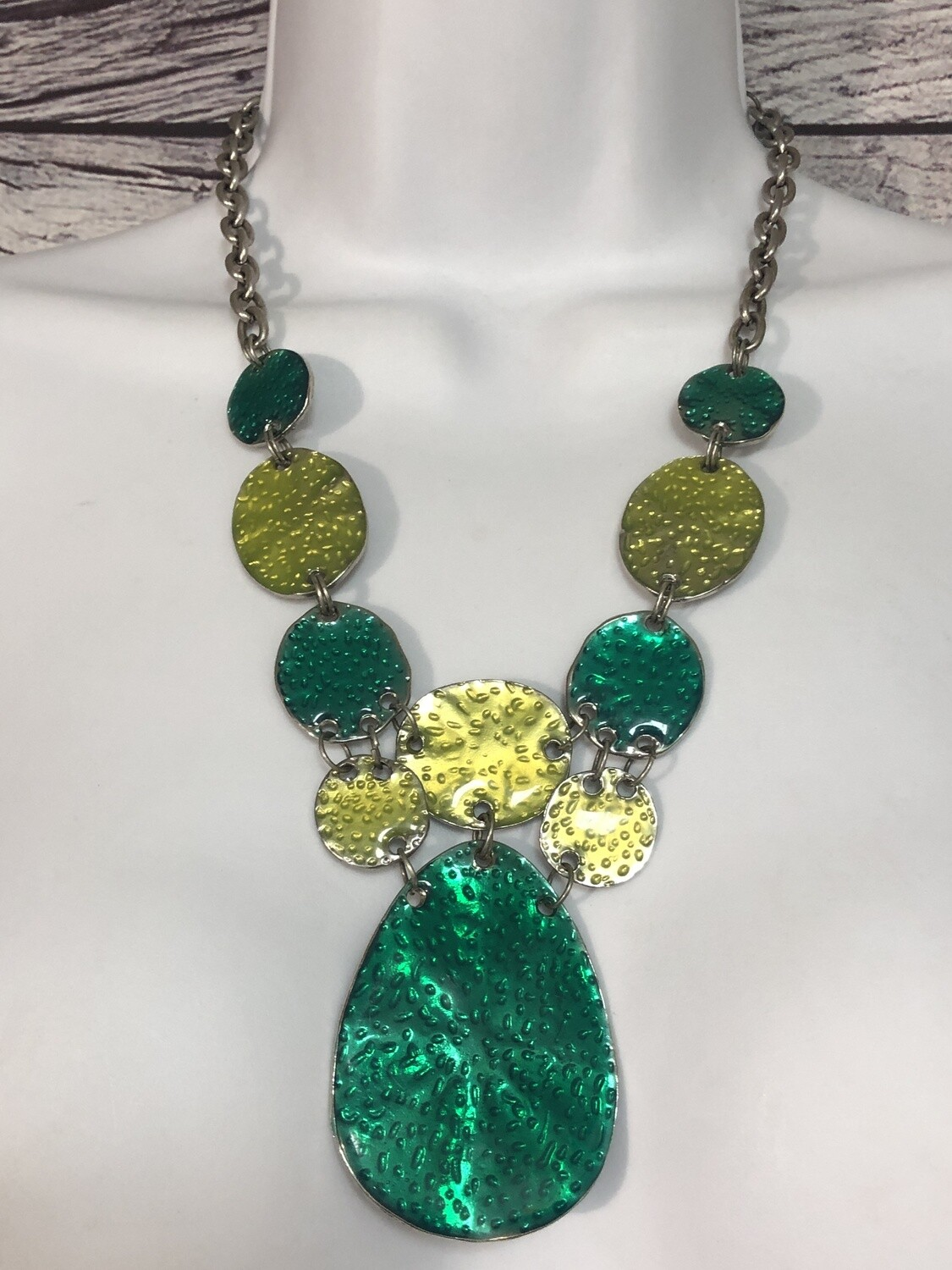 RUBY ROAD Green, Chartreuse & Silver Statement Necklace
