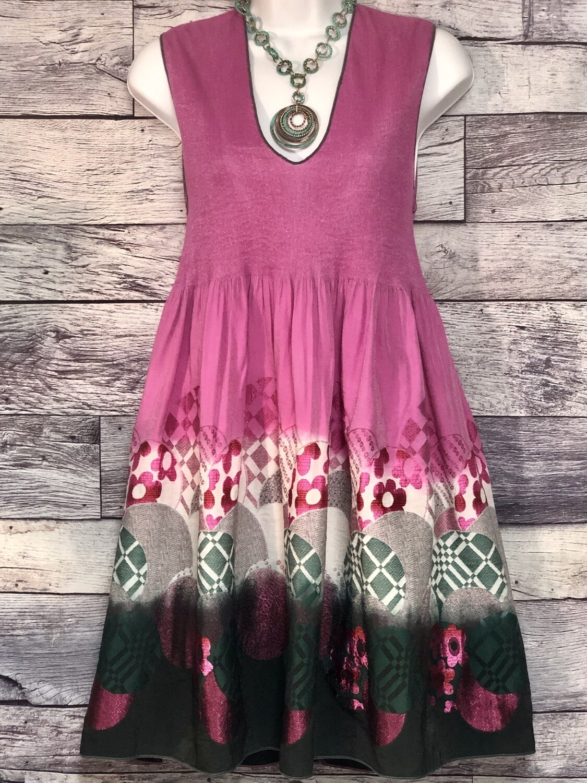 CHELSEA & VIOLET Pink & Green Rayon Design Dress size M/L