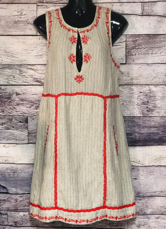 ELLA MOSS Navy/Cream Stripe & Red Stitch Design Dress sz M